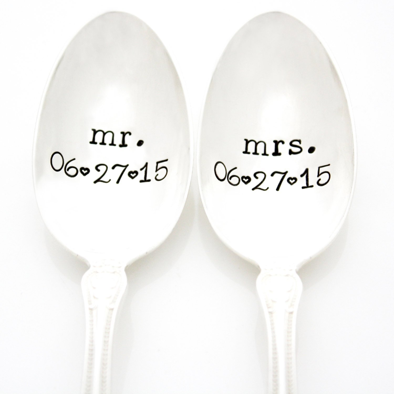 Custom Mr. and Mrs. Spoons with Wedding Date. Hand Stamped Vintage Coffee Spoons. Personalized Stamped Spoons by Milk & Honey Luxuries. Part of the Martha Stewart American Made Market.