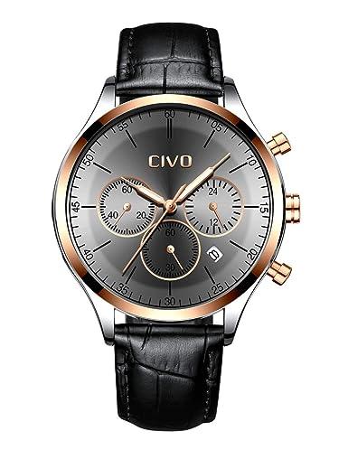 75a3aa4438bdb CIVO Montres Homme Imperméable Chronographe Multifonctionnel Montre avec  Bande en Acier Inoxydable de Cuir Calendrier Date