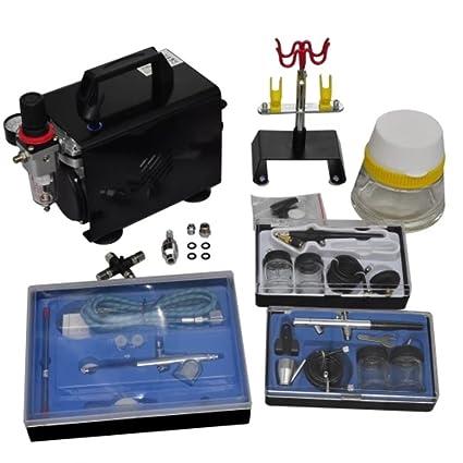 Festnight- Compresor Aerografo con 3 Pistolas, 255 x 135 x 220 mm Mini Compresor