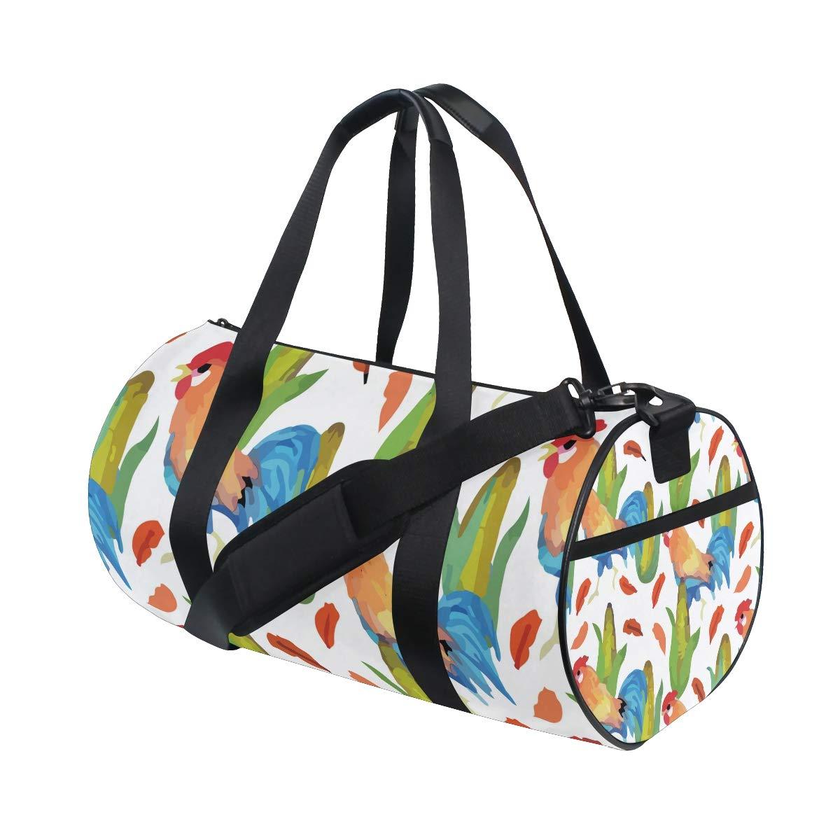 Sports Gym Duffel Barrel Bag Rooster Corn Harvest Farm Travel Luggage Handbag for Men Women