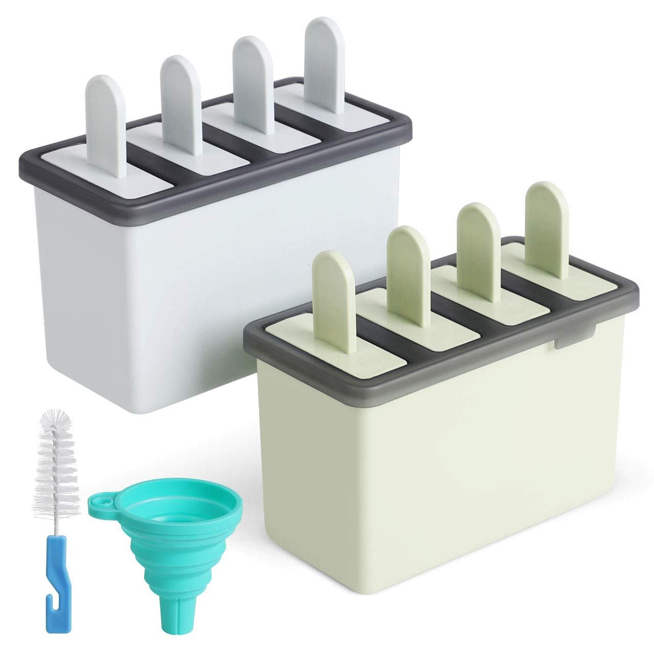 Kootek Popsicle Molds Sets 8 Ice Pop Makers Reusable Ice Cream Mold - BPA Free, Dishwasher Safe, Durable DIY Popsicles Tray Holders with Silicone Funnel, Cleaning Brush Kitchen Supplies(Blue & Green)