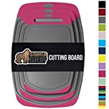 Gorilla Grip Original Oversized Cutting Board, 3 Piece, BPA Free, Juice Grooves, Larger Thicker Boards, Easy Grip Handle, Dishwasher Safe, Non Porous, X Large, Kitchen, Set of 3, Hot Pink Gray