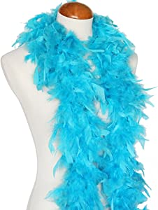 """45g 52"""" Turkey Chandelle Feather Boas, Over 40 Colors & Patterns to Pick Up (Turquoise)"""