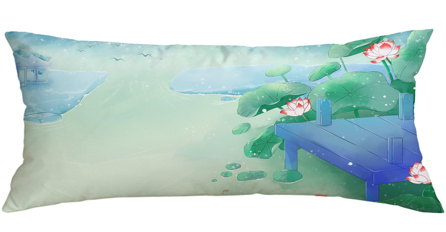 Watercolor Shore Lotus Polyester Decorative Throw Pillow Case Cushion Cover Body Pillow Covers 16 x 32 Inch