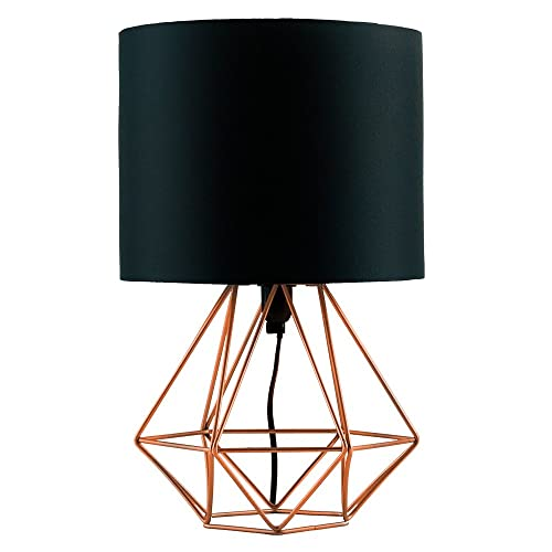 Gold table lamp amazon modern copper metal basket cage style table lamp with a black fabric shade aloadofball Images