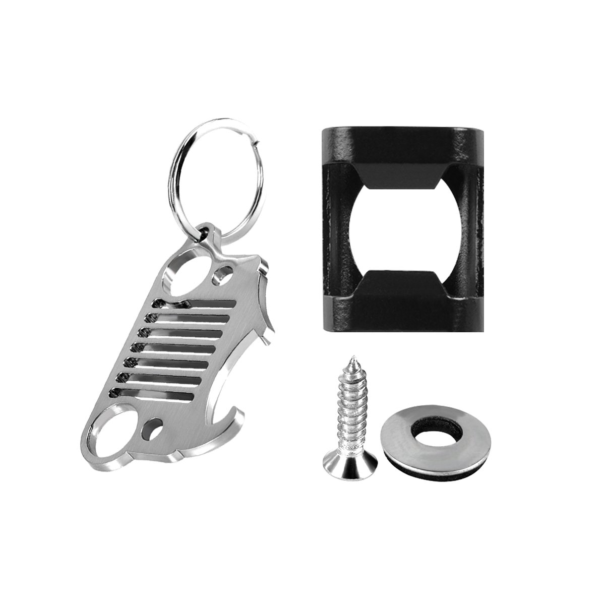 Wrangler License Plate Mounted Bottle Opener Accessory, AutoEC Bottle Opener for Rear License Plate fits Jeep Wrangler JK TJ Models with Key Chain Bottle Opener for Man and Women