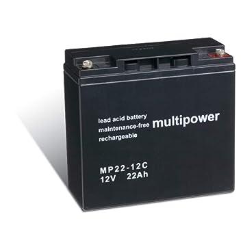 Powery Recambio de Batería para Carro de Golf Sillas de Ruedas Autocaravanas Scooter eléctrico 12V 22Ah (Ciclo Profundo)