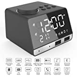 Digital Alarm Clock - Mains Powered,Dual Alarm Clock with FM Radio,Bluetooth Speaker,Dual USB Port,4.2 Bluetooth,Aux in/TF Card/U-Disk Speaker,Snooze,Thermometer,Calendar