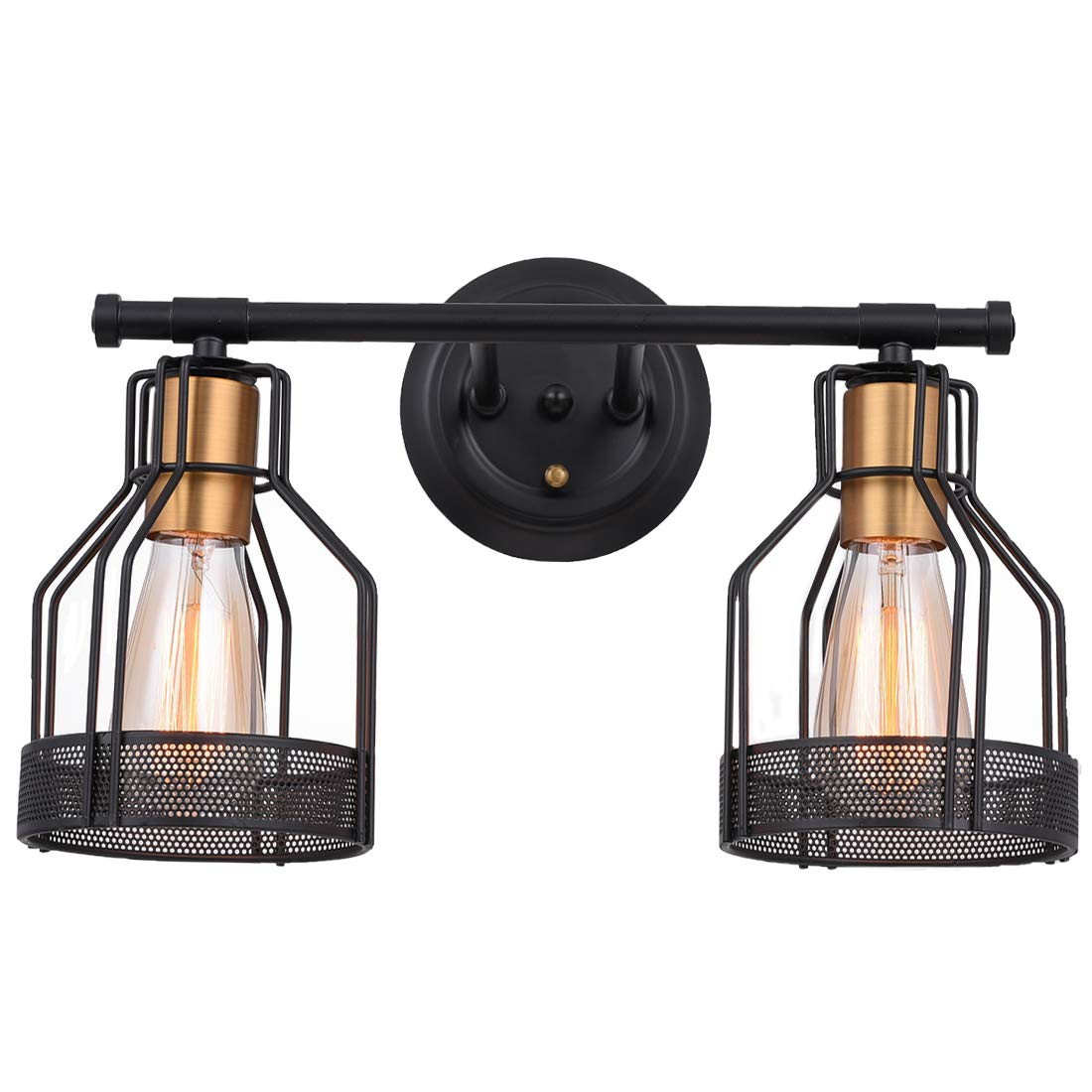 Pauwer 2 Light Bathroom Vanity Light Industrial Metal Wire Cage Wall Sconce Edison Vintage Wall Light Fixture for Bathroom (2-Light Vanity Light) by Pauwer