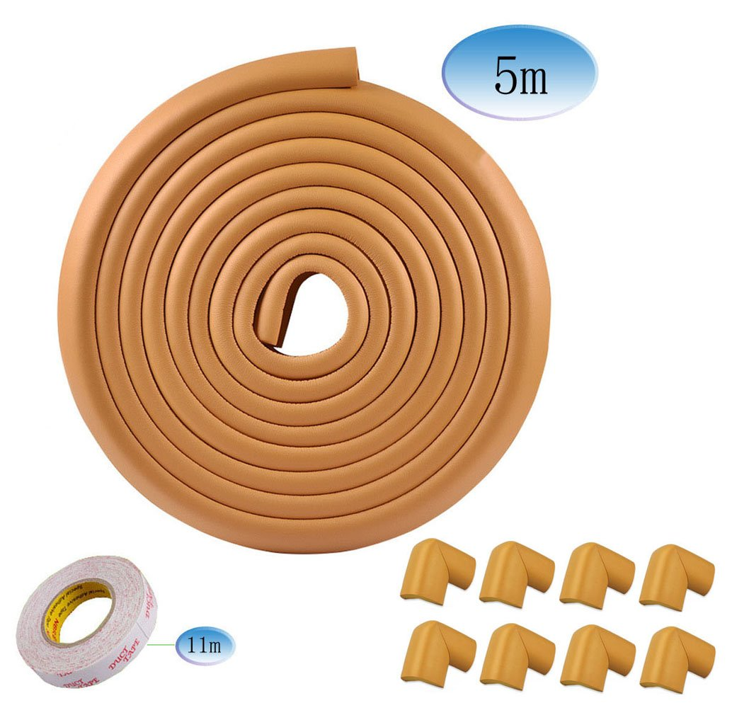 5m L-shaped Toddler Baby Kids Safety Soft Foam Sponge Corner Edge Corner Protector Guard Cushion Anti-collision Bumper Strip Table with 8 Foam Corner Guards Coffee VIPINO