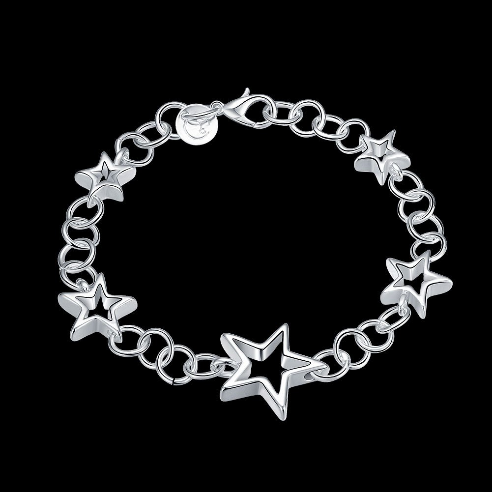 Greendou Fashion Jewelry 925 Sterling Silver Plated Pentagram Stars Link Chain Bracelet for Women and Girls