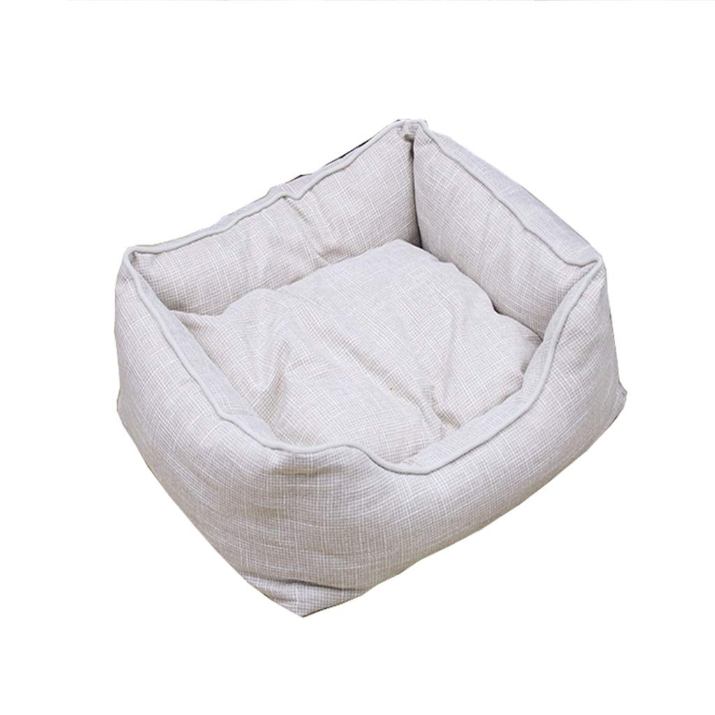 M Hxyan Dog Bed Pet Bed Dog Sofa Small Medium Size Large Removable Washable Linen Fabric Cat Bed Four Seasons Universal (Size   M)