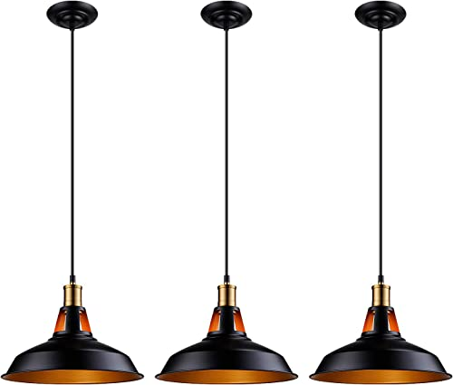 LEONLITE Industrial Metal Pendant Light, 4.92ft Cord Edison Vintage Style Hanging Barn Lampshade, ETL Listed, Aluminum Sockets, E26 Base, for Kitchen, Pool Table, Dining Room, Pack of 3