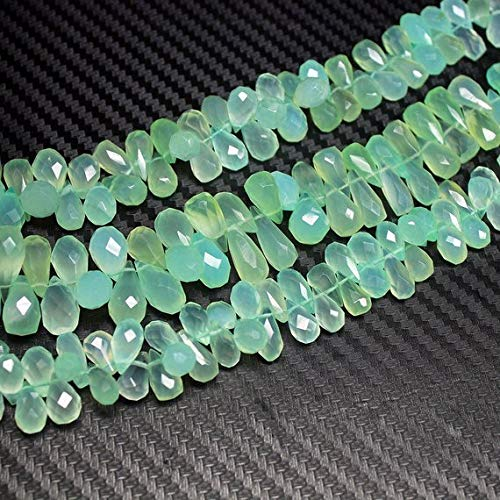 Beads Bazar Natural Beautiful jewellery Natural Seafoam Chalcedony Faceted Tear Drop Briolette Gemstone Loose Craft Beads Strand 9