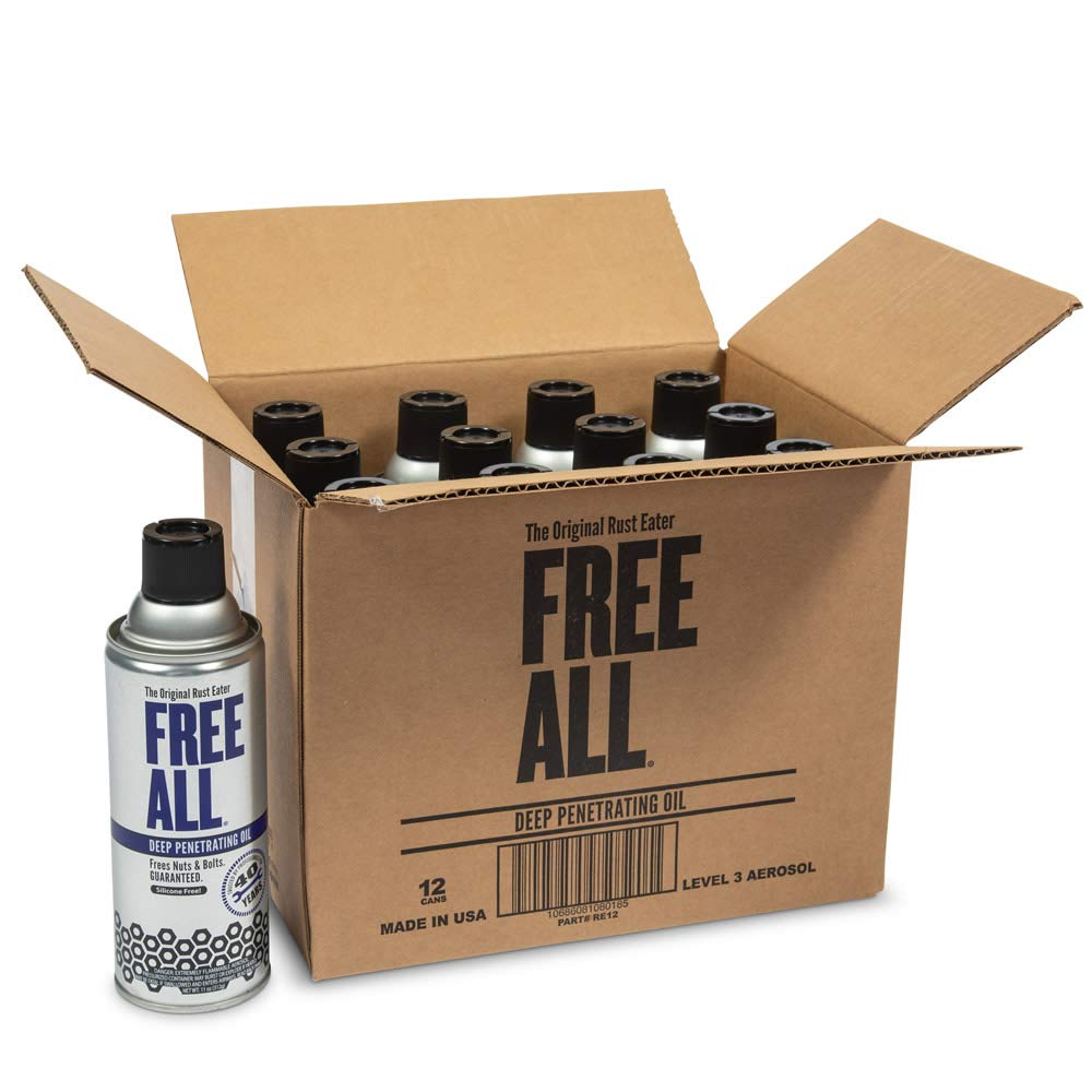 Free All Deep Penetrating Oil - Free Rusted and Frozen Parts - Silicone-Free and Body Shop Safe, 12 Count by Gasoila