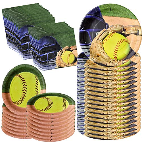 Softball Party Supplies (Havercamp Girl's Softball Star Bundle for 16 | Large Napkins & Plates | Great for Fastpitch, Athlete and Varsity)
