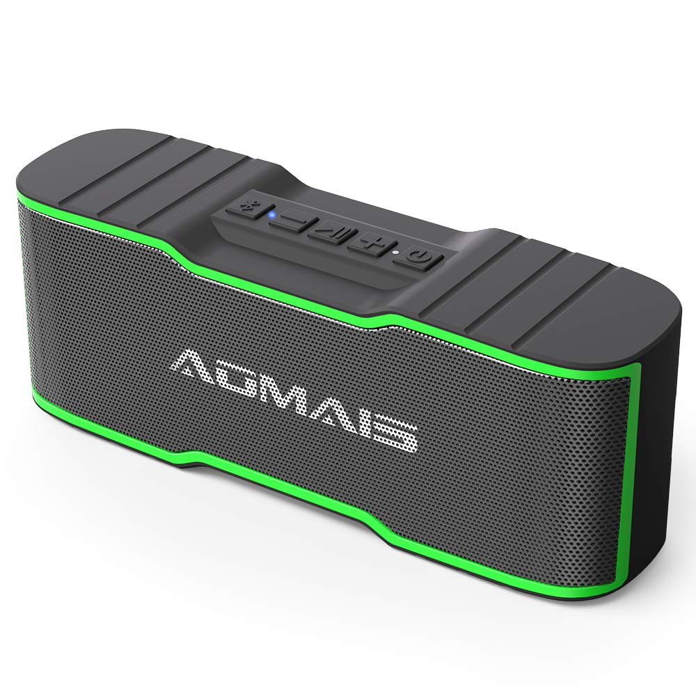 AOMAIS Sport II Mini Portable Bluetooth Speakers 10W Superior Sound, Built-in Mic, Stereo Pairing, IPX4 Water-Resistant Wireless Speaker Shower, Pool, Outdoors, Travel, Beach (Green)