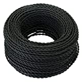 Fortunewill 25 ft 2-wire Vintage Black Twisted Cloth Covered Wire Cloth Cord 18/2 For Edison Hanging Pendant Vintage Light