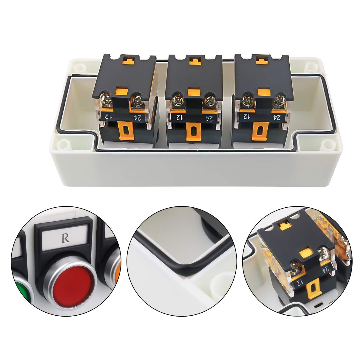 Nxtop Momentary Push Button Switch Pushbutton Switches Station LA38-11 Box 22mm 10A 440V 1NO 1NC Red Yellow Green Sign