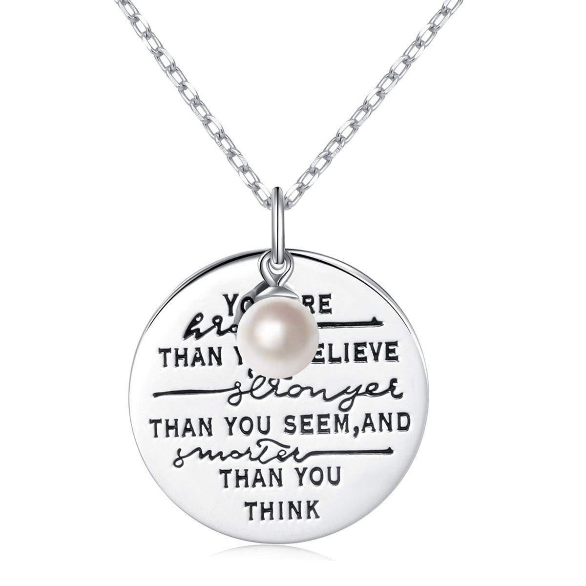 925 Sterling Silver You Are Braver Than You Believe Awareness Necklace Cultured Pearl Graduation Gift Best Friend Encouragement Gifts