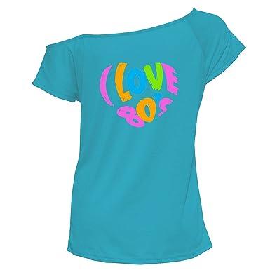 03cc7d5a5 Womens I Love The 80s Print Tshirt#(6203#TurquoiseT Shirt/I Love The 80s  Print#UK 14): Amazon.co.uk: Clothing