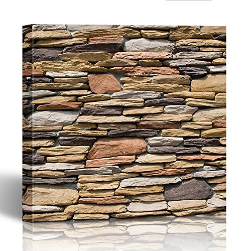 Emvency Painting Canvas Print Square 20x20 Inches Gray Brick Pattern of Slate Stone Wall Stack Old Rock Interior Marble Siding Wall Art Decoration Wrapped Wooden Frame - Ancient Stone Frame