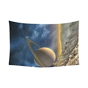 Unique Debora Custom Wall Tapestry Saturn Moon 60x51 Inch Cotton Linen Tapestry Wall Hanging Art 60WD82