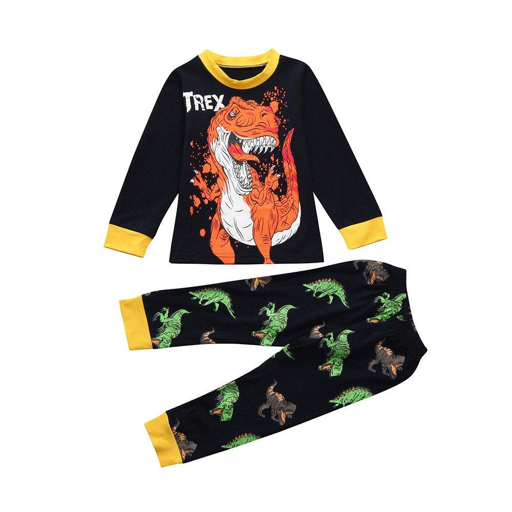 Zolimx Bambino Bambino Bambini Ragazzi T-Shirt, Dinosauro Stampa Cartoon Top Pantaloni Abiti Set Pigiami Da Notte