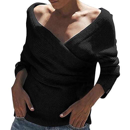 f72071ecccf Total-shop Sexy Women Off Shoulder Sweater Fashion Big V Neck Tops ...
