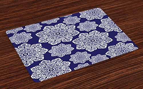 Ambesonne Navy Blue Place Mats Set of 4, Floral Lace Graphic Print Snowflake Themed Pattern Ornate Circle Batik Texture, Washable Fabric Placemats for Dining Table, Standard Size, White Blue ()