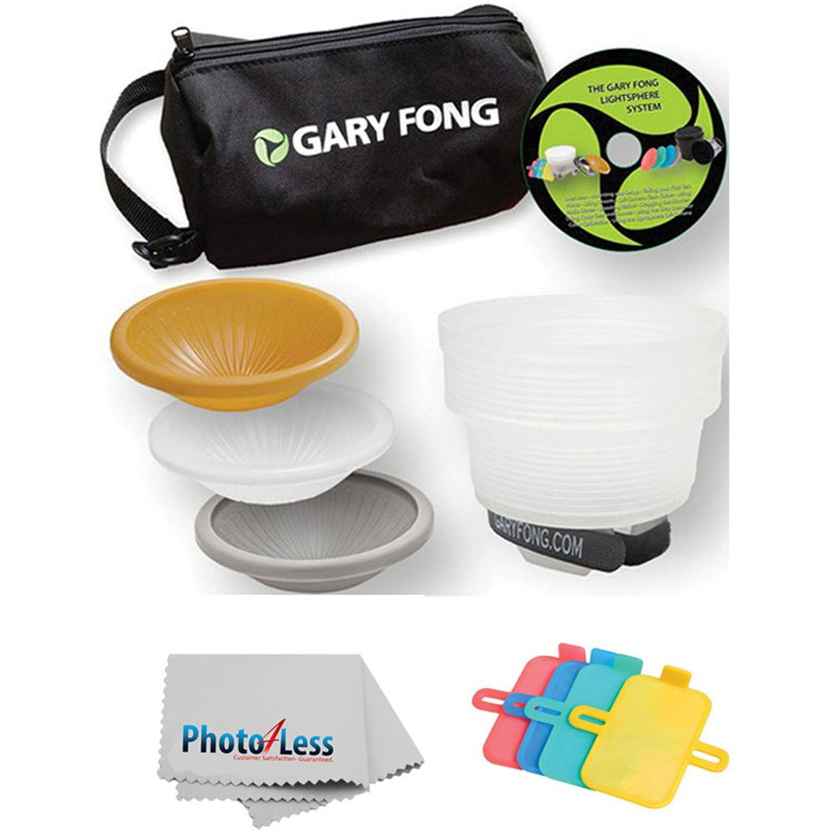 Gary Fong Lightsphere Collapsible Wedding & Event Lighting Kit With 4-piece Color Gel Set + Cleaning Cloth For CANON 540EX 420EX 550EX 430EX 580EX 580EX II 430EX II 270EX 380EX 320EX 600EX-RT by Gary Fong