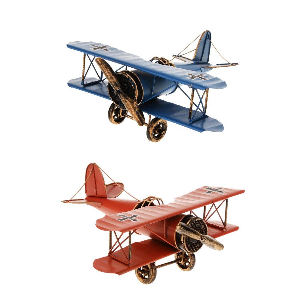 Baoblaze 2 Pièces Vintage Avion en Métal Fer Planeur Biplane Avion Grande Collection et Décoration (Bleu et Rouge)