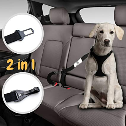 Barktus Dog Seat Belt For Harness With Two Pet Cat Car Safety Leads Heavy Duty Leash