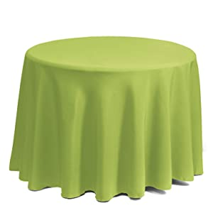 """Gee Di Moda Tablecloth - 120"""" Inch Round Tablecloths for Circular Table Cover in Apple Green Washable Polyester - Great for Buffet Table, Parties, Holiday Dinner & More"""