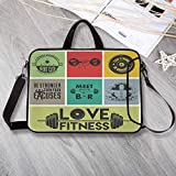 """Fitness Waterproof Neoprene Laptop Bag,Various Motivational Quotes in Colorful Frames Get Fit Active Healthy Lifestyle Laptop Bag for Business Casual or School,15.4""""L x 11""""W x 0.8""""H"""