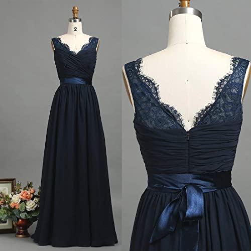Long Bridesmaid Dress Dark Navy Blue