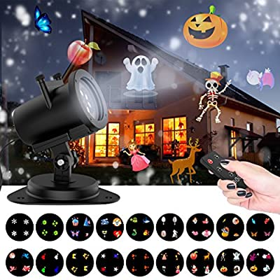 Halloween Projector Light [18 Exclusive Full Color Slides], Sankit 10W Waterproof LED Landscape Motion Garden Projection Lights with Wireless Remote for All Year Round Occasions (Christmas, Parties)
