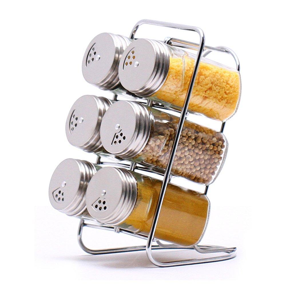 MKNzone Set di 6 barattoli di spezie, vaschetta portaspezie con vassoio, contenitori di spezie in vetro multiuso per la conservazione di spezie e condimenti per cucina in cucina e barbecue