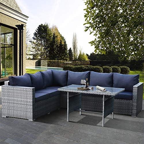 Patio Furniture 4-Piece PE Rattan Sofa Garden Couch Gray PE Wicker Navy Blue Cushion