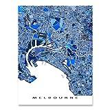Melbourne Map Print, Australia, City Art Poster, Blue