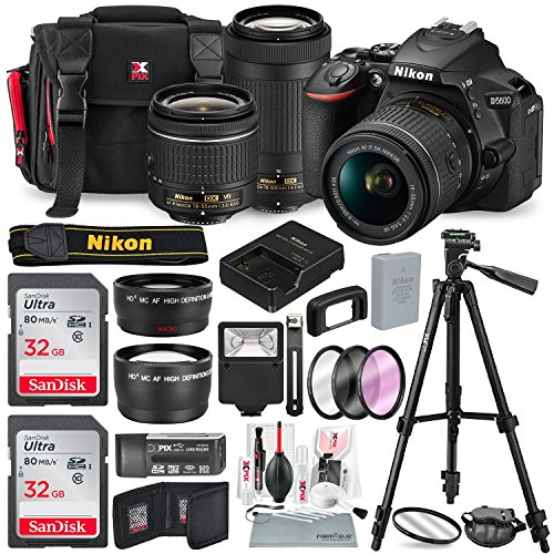 Nikon D5600 DSLR Camera with NIKKOR 18-55mm + 70-300mm Lenses W/ Total of 48 GB SD CARD, Telephoto & Wideangle Lens, Xpix Lens Handling Accessories with Basic - Nikon Bundle Camera