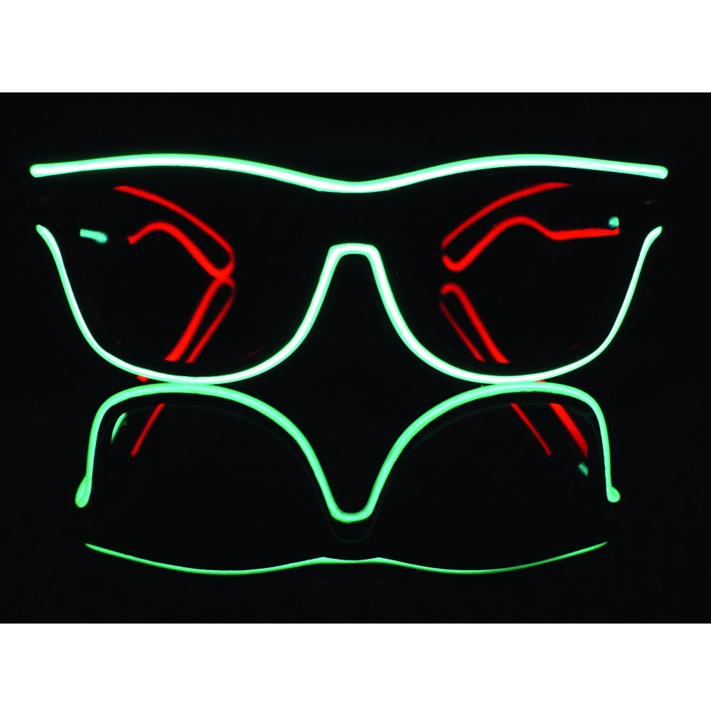 El Wire Multi-color Glasses Light Up Clear Wayfarer Led Rainbow Glasses for Festival Rave Party Gift (1, Green and Red)