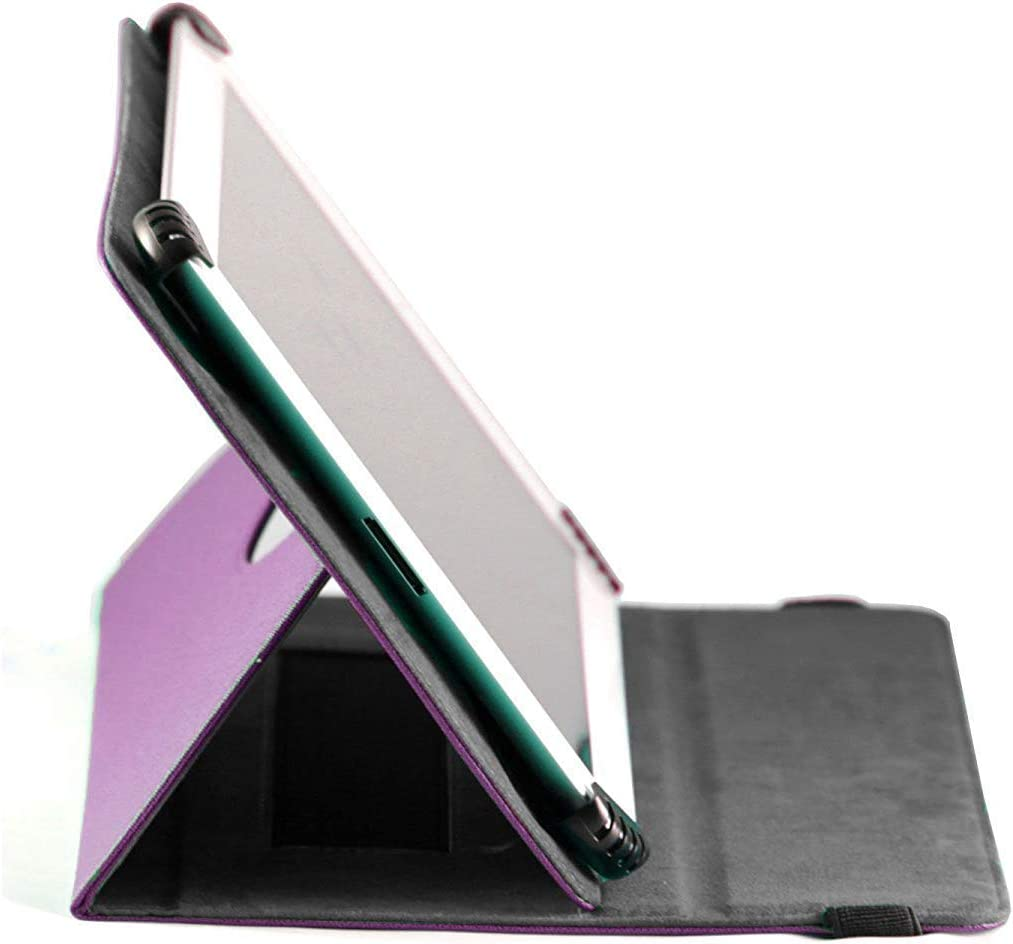 Navitech Purple Leather Case Cover with 360 Rotational Stand /& Atlas Stylus Compatible with The Yuntab E706 7 Inch