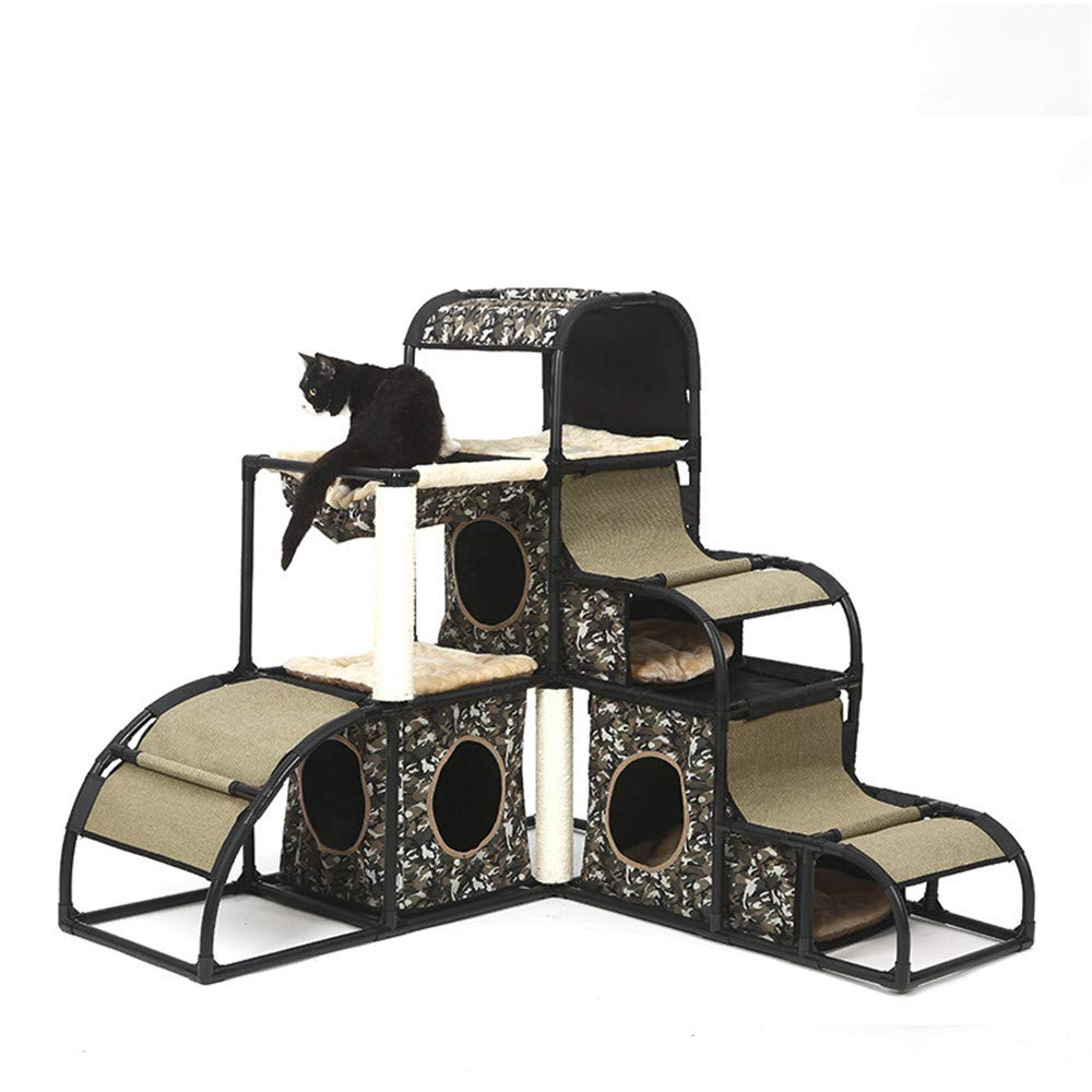 Camouflage PETUNL Cat Climbing Frame Cat Jumping Platform Luxury Multi-functional Detachable Pet Play (color   Camouflage)
