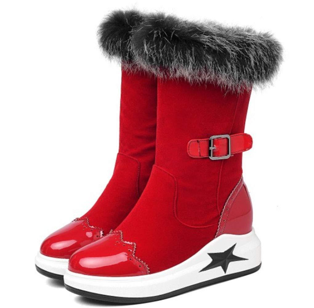 HRN Frauen Schnee Stiefel dicken Boden Wildleder runden runden runden Kopf erhöht in der Mitte Rohr Stiefel verdicken warme Gürtelschnalle fünfzackigen Stern dekorative Baumwolle Schuhe,rot,36EU 72ab77