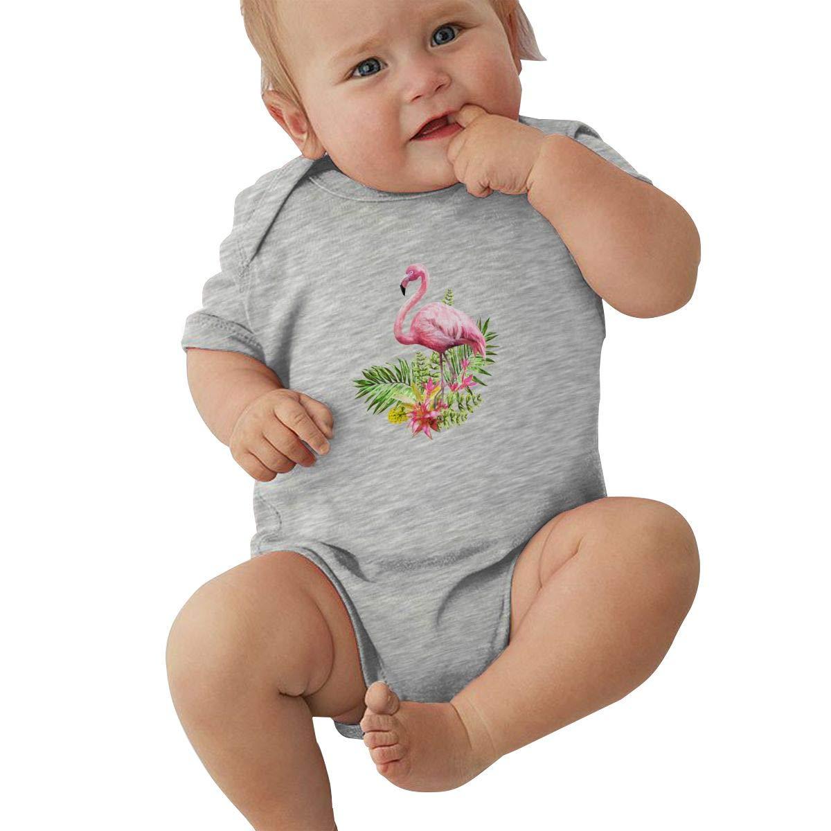 Dfenere Pink Flamingo Watercolor Casual Newborn Baby Short Sleeve Bodysuit Romper Infant Summer Clothing Pink
