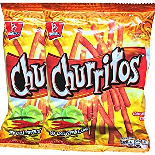 Barcel Churritos Chilli Pepper & Lime Corn Snack Sticks Net Wt. 4 Oz Baggies Snack Care Package for College, Military, Sports (Red Chilli Pepper & Lime, 2)