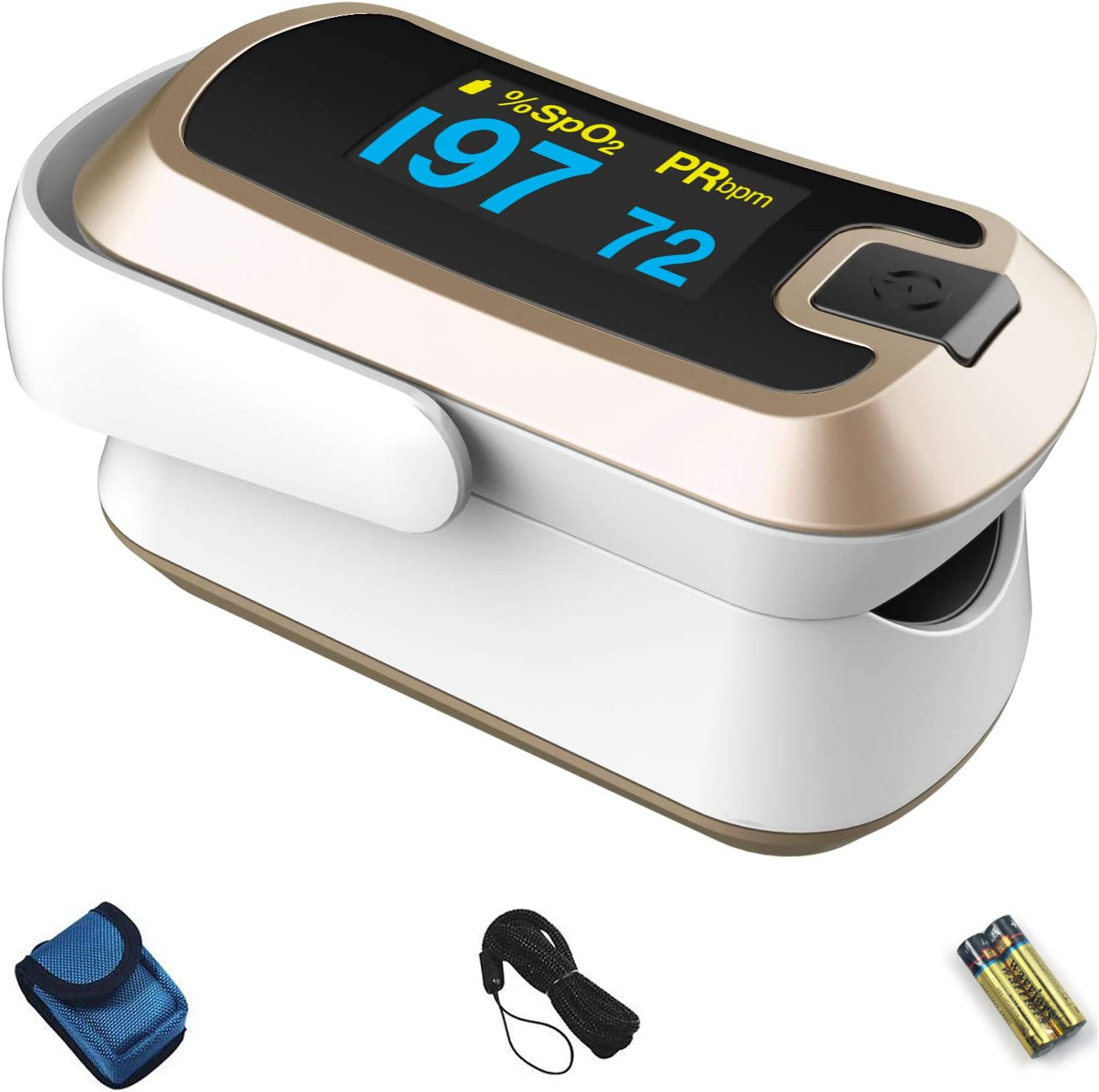 mibest OLED Finger Pulse Oximeter, O2 Meter, Dual Color White/Luxury Gold