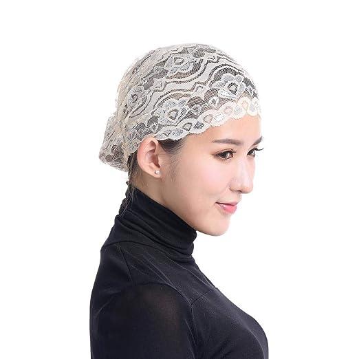 aed054d7de436 Vertily Muslim Stretch Lace Floral Turban Chemo Cap Hair Loss Headscarf  Wrap Cap (Beige)