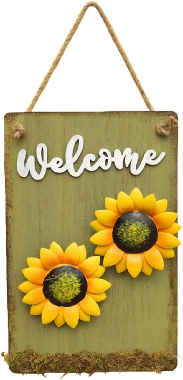 D-Fokes Sunlower Welcome Sign Decorative Vintage Wooden Wall Hanging Home Garden Decor - Craft Hanging Welcome Sign Yard Patio Front Door Door Ornaments with String